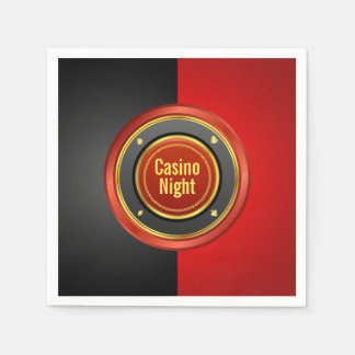 カジノ夜黒くおよび赤いポーカー用のチップ スタンダードカクテルナプキン