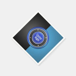 カジノ夜黒くおよび青のポーカー用のチップ スタンダードカクテルナプキン