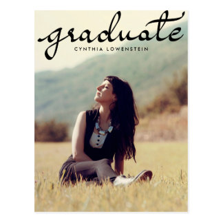 カジュアルな上品の卒業生の黒のタイポグラフィの写真 ポストカード