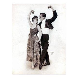 カスタネットが付いているヴィンテージのフラメンコのカップル ポストカード