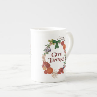 カスタマイズべき感謝祭の秋のリース ボーンチャイナカップ