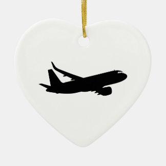 カスタマイズべき航空機のジェット機はさみ金の黒のシルエット セラミックオーナメント