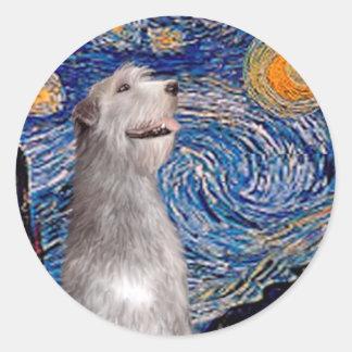 カスタマイズアイリッシュ・ウルフハウンド-星明かりの夜(Vert) - ラウンドシール