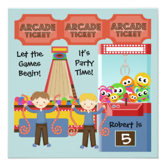 カスタマイズアーケードの誕生日のパーティの招待状 カード