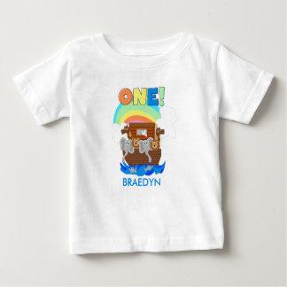 カスタマイズノアの箱舟のベビーの第1誕生日のTシャツ ベビーTシャツ