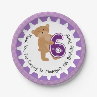 カスタマイズヒグマの第6誕生日の紙皿 ペーパープレート