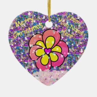 カスタマイズピンクの花のハートのクリスマスのオーナメント 陶器製ハート型オーナメント