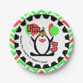 カスタマイズペンギンの第3誕生日の紙皿 ペーパープレート