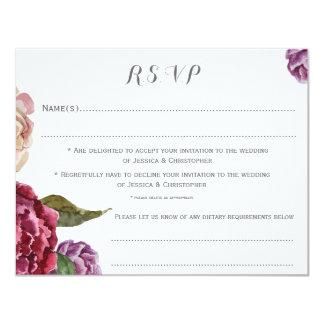 カスタマイズボヘミアの暗い花柄RSVPカードを結婚します カード