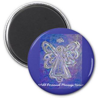 カスタマイズメッセージが付いている紫色の天使の磁石 マグネット