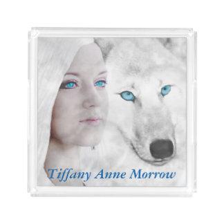 カスタマイズ一流の雪の白いオオカミの女性青い目 アクリルトレー