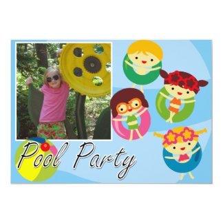 カスタマイズ写真のプールを囲んでのパーティの水泳の誕生日 カード