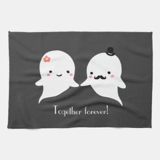 カスタマイズ可能でかわいい幽霊のカップル キッチンタオル