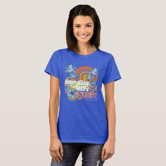 カスタマイズ可能でグランジなカリフォルニアビーチ都市テンプレート Tシャツ