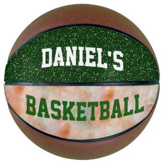 カスタマイズ可能で名前入りなバスケットボールの緑のグリッター バスケットボール