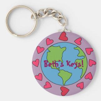 カスタマイズ可能で名前入りなI愛地球Keychain キーホルダー