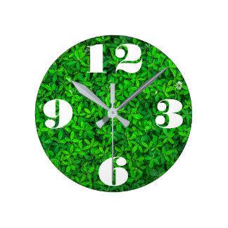 カスタマイズ可能で新しい緑植物 ラウンド壁時計