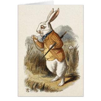カスタマイズ可能で空白ので白いウサギのイラストレーション カード