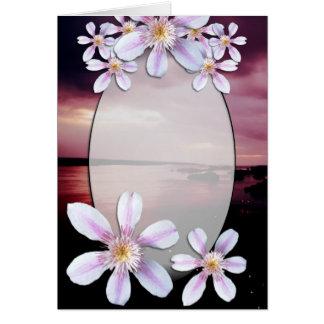 カスタマイズ可能で空白のな花および日没カード カード