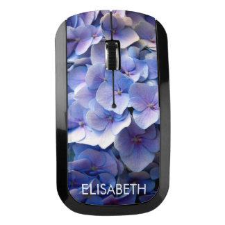 カスタマイズ可能で美しく青いアジサイの花 ワイヤレスマウス