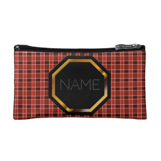 カスタマイズ可能で赤い格子縞の化粧品のバッグ コスメティックバッグ
