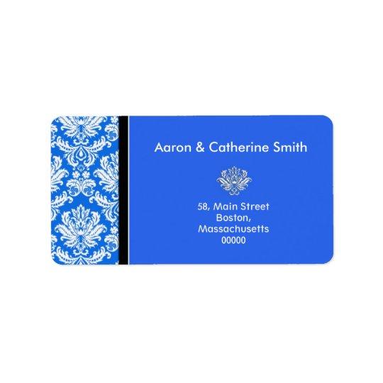 カスタマイズ可能で青いダマスク織の宛名ラベル 宛名ラベル