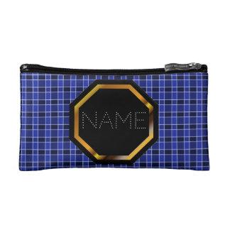 カスタマイズ可能で青い格子縞の化粧品のバッグ コスメティックバッグ