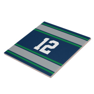 カスタマイズ可能で青および緑のスポーツは縞で飾ります タイル
