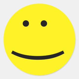 カスタマイズ可能で黄色い顔文字の顔 ラウンドシール