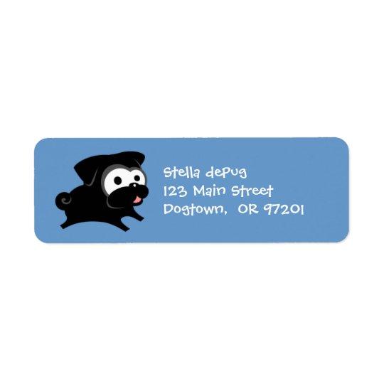 カスタマイズ可能で黒いパグ2つの差出人住所ラベル ラベル