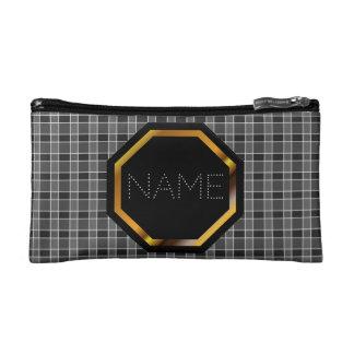 カスタマイズ可能で黒い格子縞の化粧品のバッグ コスメティックバッグ