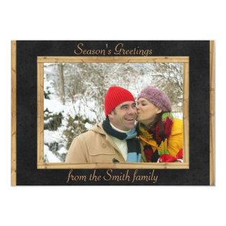 カスタマイズ可能で黒い灰色の木の休日の写真カード カード