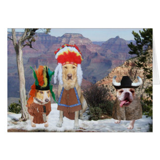 カスタマイズ可能なおもしろい犬のネイティブアメリカンのテーマ カード