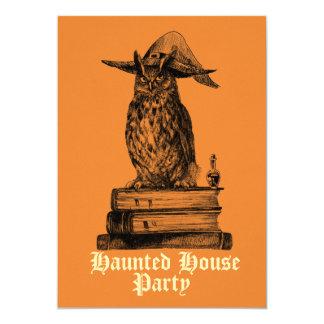 カスタマイズ可能なお化け屋敷のパーティーの魔法使いのフクロウ カード