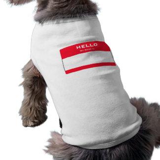 カスタマイズ可能なこんにちはは私の名前犬のタンクトップです 犬用袖なしタンクトップ