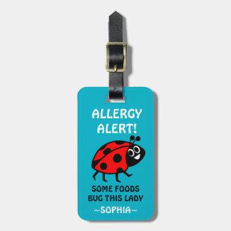 カスタマイズ可能なてんとう虫の食物アレルギー医学警報 ラゲッジタグ