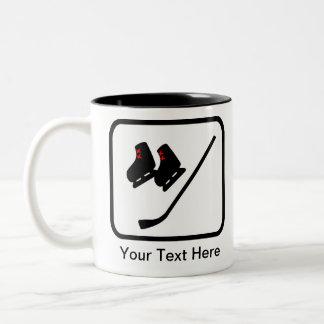 カスタマイズ可能なアイスホッケーのロゴ ツートーンマグカップ