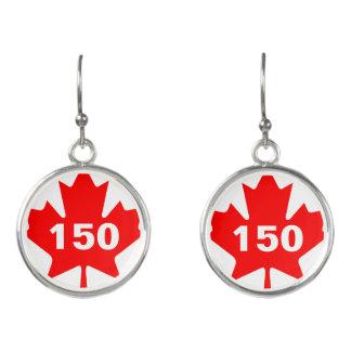 カスタマイズ可能なアメリカハナノキの葉カナダ150 イヤリング