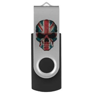 カスタマイズ可能なイギリスの旗のスカル USBフラッシュドライブ