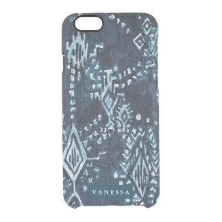 カスタマイズ可能なインディゴのイカットの種族の水彩画 クリアiPhone 6/6Sケース