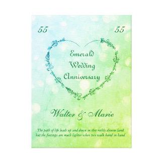 カスタマイズ可能なエメラルドの結婚記念日 キャンバスプリント