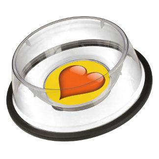 カスタマイズ可能なオレンジガラスハート 犬用食器