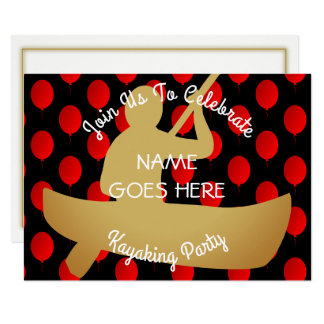 カスタマイズ可能なカヤックを漕ぐパーティの招待状 カード