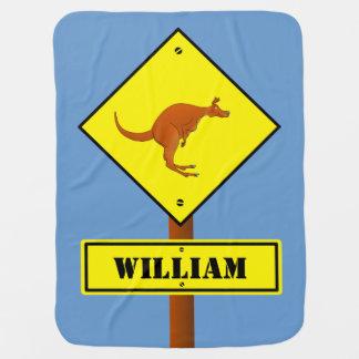 カスタマイズ可能なカンガルーの交通標識 ベビー ブランケット