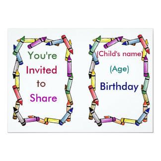 カスタマイズ可能なクレヨンの招待状- カード