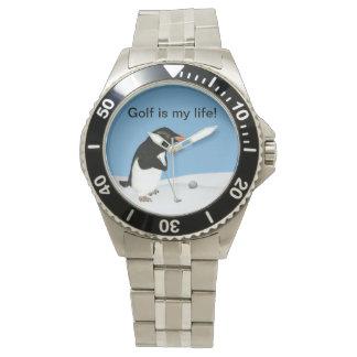 カスタマイズ可能なゴルフを遊んでいるユーモアのあるなペンギン 腕時計