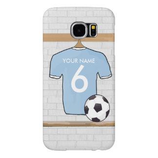 カスタマイズ可能なサッカーのワイシャツのジャージーのスカイブルーの白 SAMSUNG GALAXY S6 ケース