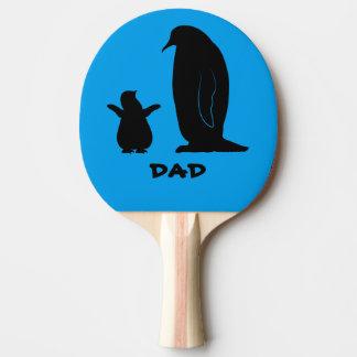カスタマイズ可能なシルエットの名前のペンギンそしてひよこ 卓球ラケット