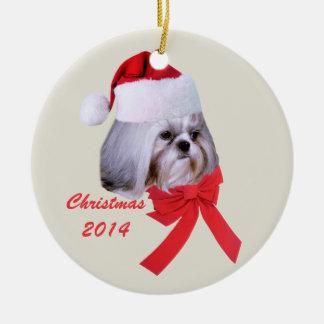 カスタマイズ可能なシーズー(犬)のTzuのクリスマスのオーナメント セラミックオーナメント