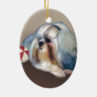カスタマイズ可能なシーズー(犬)のTzu犬 セラミックオーナメント